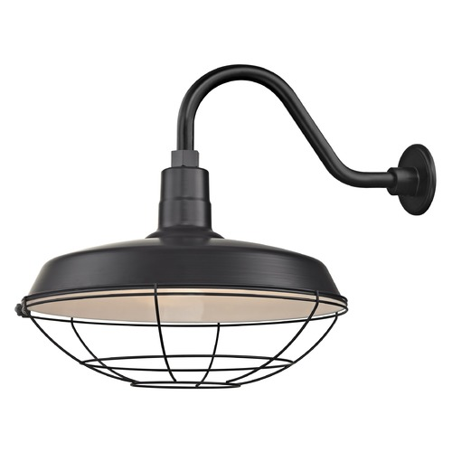 Recesso Lighting by Dolan Designs Black Gooseneck Barn Light with 18