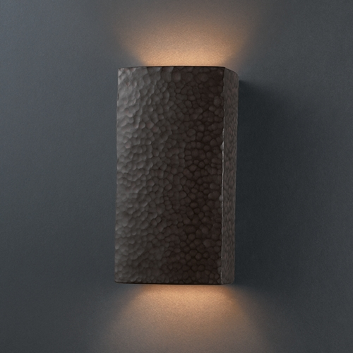 Justice Design Group Outdoor Wall Light in Hammered Iron Finish CER-0915W-HMIR