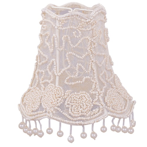 Crystorama Lighting Cream Scalloped Lamp Shade with Clip-On Assembly 2SH
