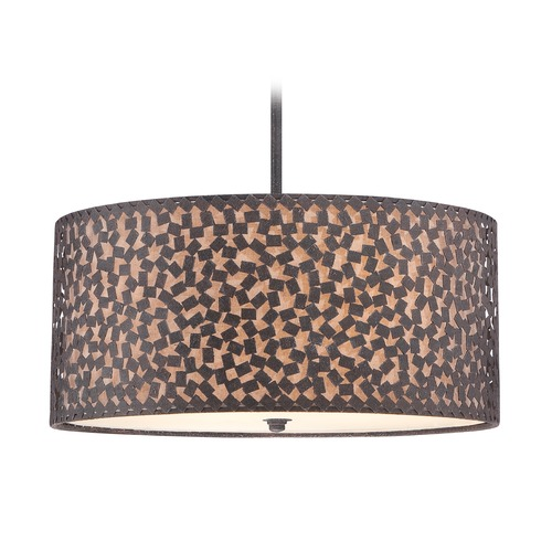 Quoizel Lighting Quoizel Lighting Confetti Rustic Black Pendant Light with Drum Shade CKCF2822RK
