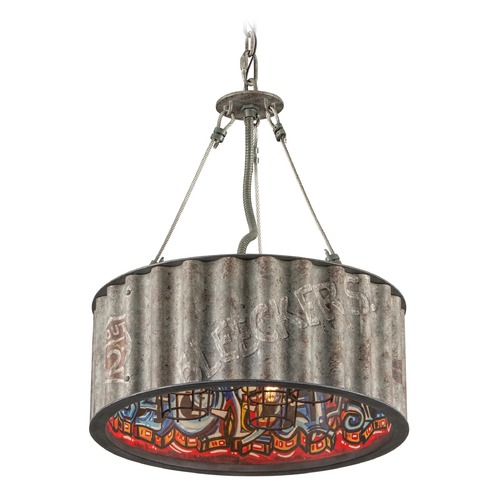 Troy Lighting Troy Lighting Street Art Weathered Galvanized with Street Art Interior Pendant Light with Drum Shade F4764