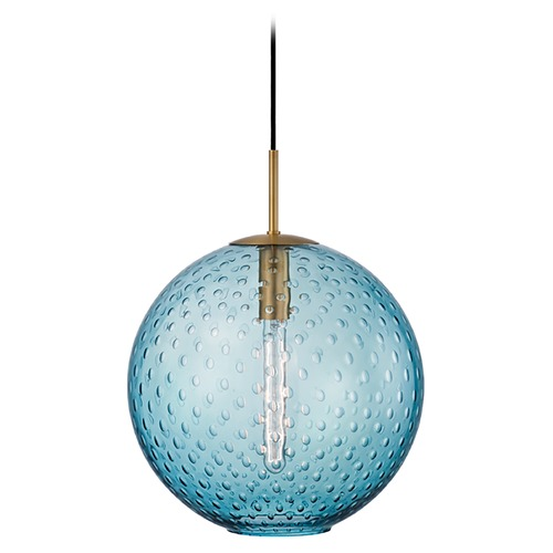 Hudson Valley Lighting Hudson Valley Lighting Rousseau Aged Brass Pendant Light with Globe Shade 2015-AGB-BL