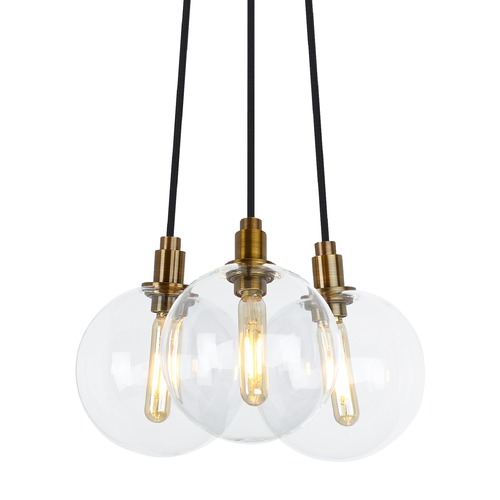 Tech Lighting Mid-Century Modern Aged Brass LED Multi-Light Pendant by Tech Lighting 700GMBMP3CR-LED927
