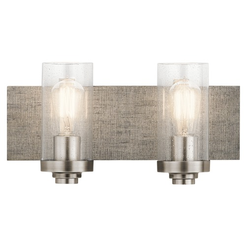Kichler Lighting Seeded Glass Bathroom Light Pewter Dalwood by Kichler Lighting 45927CLP
