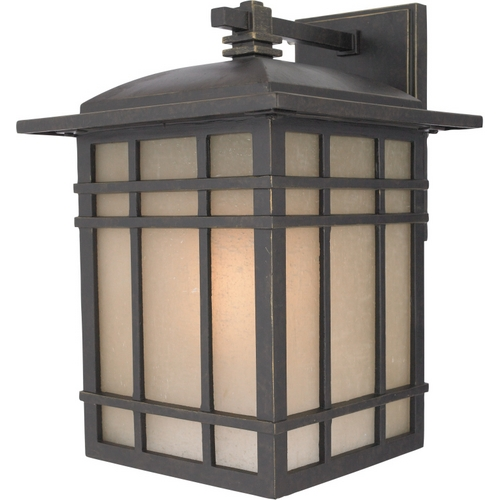 Quoizel Lighting Outdoor Wall Light with Amber Glass in Imperial Bronze Finish HC8411IBFL