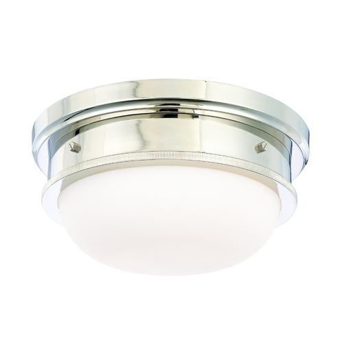 Hudson Valley Lighting Flushmount Light with White Glass in Polished Nickel Finish 3322-PN