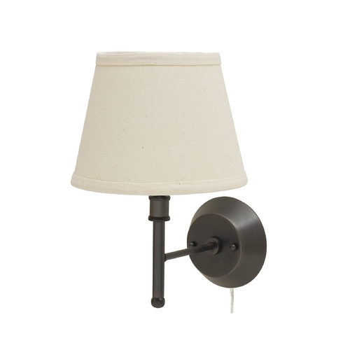 House of Troy Lighting Plug-In Lamp with White Shade in Oil Rubbed Bronze Finish GR901-OB