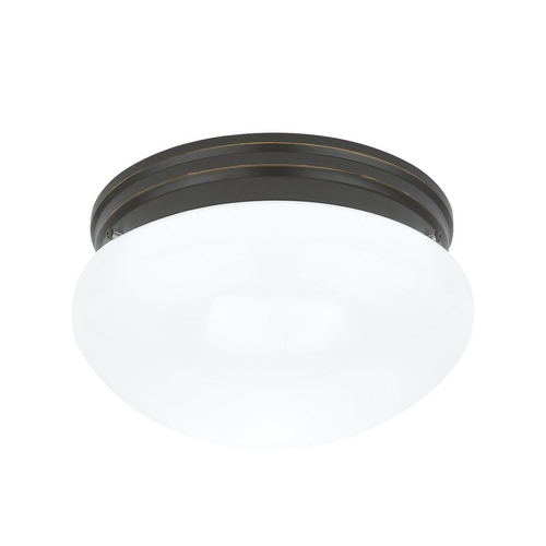 Sea Gull Lighting Flushmount Light with White Glass in Heirloom Bronze Finish 5328-782