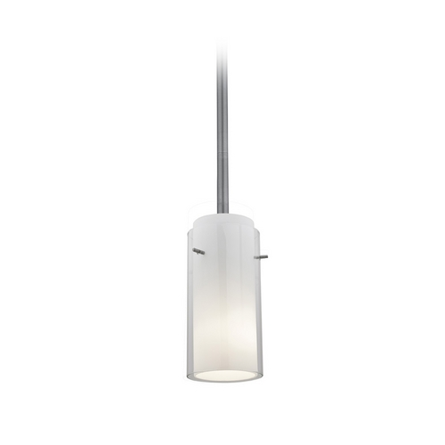 Access Lighting Modern Mini-Pendant Light with White Glass 28033-2R-BS/CLOP