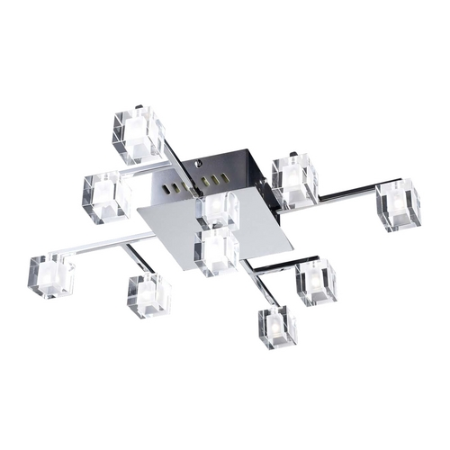PLC Lighting Modern Flushmount Light with Clear Glass in Polished Chrome Finish 36652 PC
