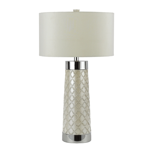 AF Lighting Modern Table Lamp with White Shade in Chrome Finish 8401-TL