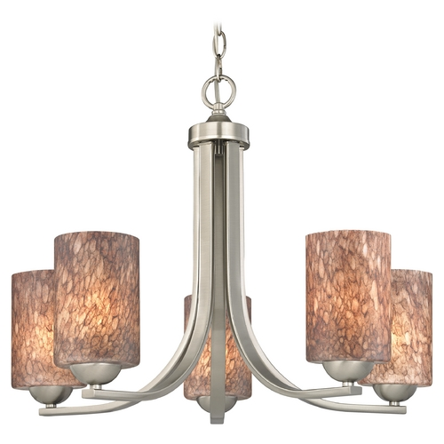 Design Classics Lighting Chandelier with Brown Art Glass in Satin Nickel Finish 584-09 GL1016C