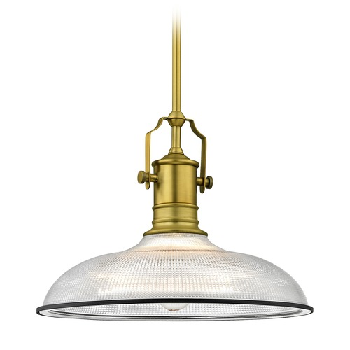 Design Classics Lighting Industrial Pendant Light with Prismatic Glass Brass / Black 14.38-Inch Wide 1765-12 G1781-FC R1781-07