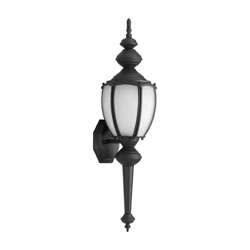 Progress Lighting Outdoor Wall Light with White Glass in Textured Black Finish P5772-31