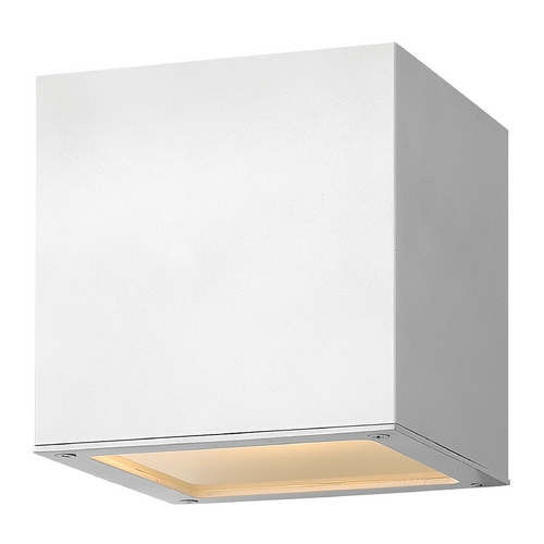 Hinkley Lighting Modern Outdoor Wall Light with White Glass in Satin White Finish 1766SW-GU24