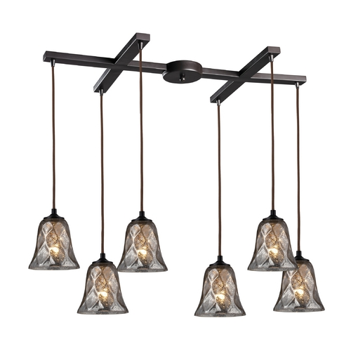 Elk Lighting Multi-Light Pendant Light with Brown Glass and 6-Lights 46000/6