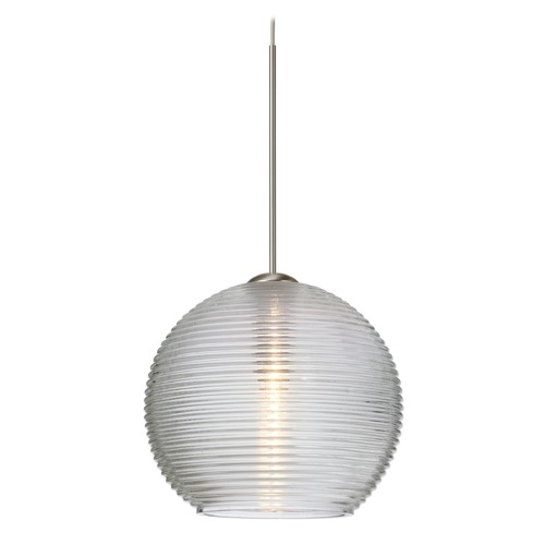 Besa Lighting Besa Lighting Kristall Satin Nickel LED Mini-Pendant Light with Globe Shade 1XT-461500-LED-SN