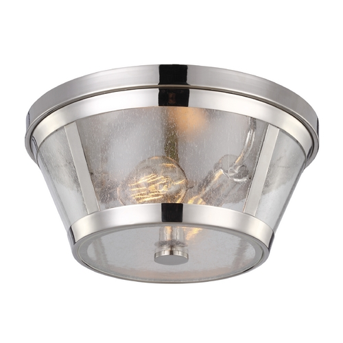 Feiss Lighting Seeded Glass Flushmount Light Polished Nickel Feiss Lighting FM393PN