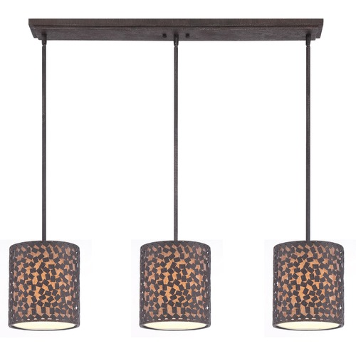 Quoizel Lighting Quoizel Lighting Confetti Rustic Black Multi-Light Pendant with Cylindrical Shade CKCF339RK