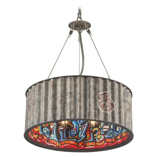 Troy Lighting Troy Lighting Street Art Weathered Galvanized with Street Art Interior Pendant Light with Drum Shade F4765