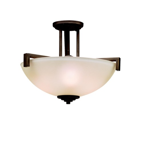 Kichler Lighting Eileen Bronze LED Semi-Flush / Pendant Light with Bowl Glass 3797OZL16