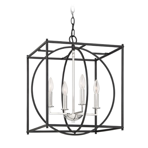 Quoizel Lighting Transitional Earth Black and Polished Chrome 4-Light Pendant CSW5204EK