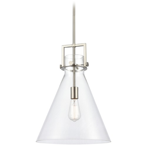 Innovations Lighting Innovations Lighting Newton Brushed Satin Nickel Pendant Light with Conical Shade 411-1S-SN-14CL
