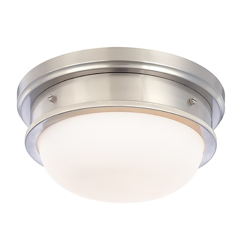 Hudson Valley Lighting Flushmount Light with White Glass in Satin Nickel Finish 3322-SN