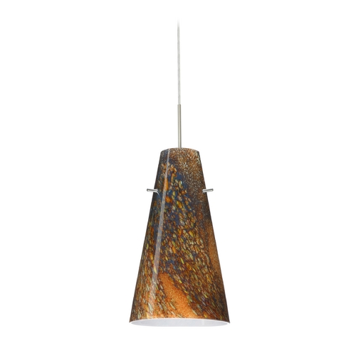 Besa Lighting Modern Pendant Light with Multi-Color Glass in Satin Nickel Finish 1JT-4124CE-SN