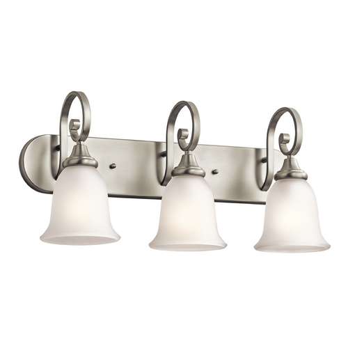 Kichler Lighting Kichler Bathroom Light with White Glass in Brushed Nickel Finish 45055NI