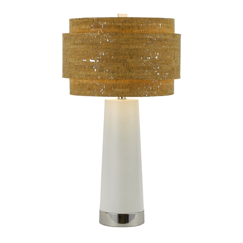 AF Lighting Modern Table Lamp with Brown Cork Shade in Chrome Finish 8402-TL