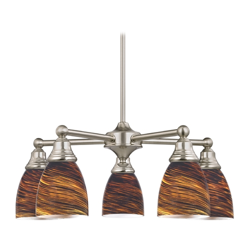 Design Classics Lighting Chandelier with Brown Art Glass in Satin Nickel Finish 597-09 GL1023MB