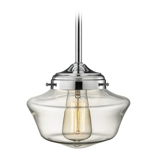 Design Classics Lighting Design Classics Elliott Fitter with Powellhurst Glass Chrome Pendant Lights FA4-26 / GA8-CL
