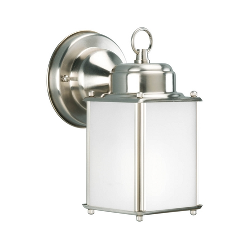 Progress Lighting Progress Outdoor Wall Light with White in Brushed Nickel Finish P5986-09