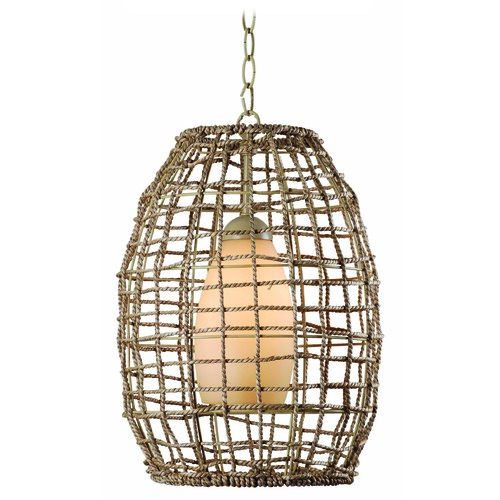 Kenroy Home Lighting Kenroy Home Lighting Seagrass Tan Rope Pendant Light with Oblong Shade 93316TN