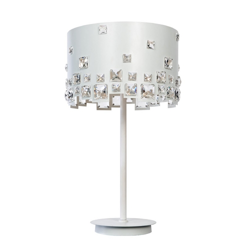Lite Source Lighting Lite Source Lighting Isabella White Table Lamp with Drum Shade EL-30133