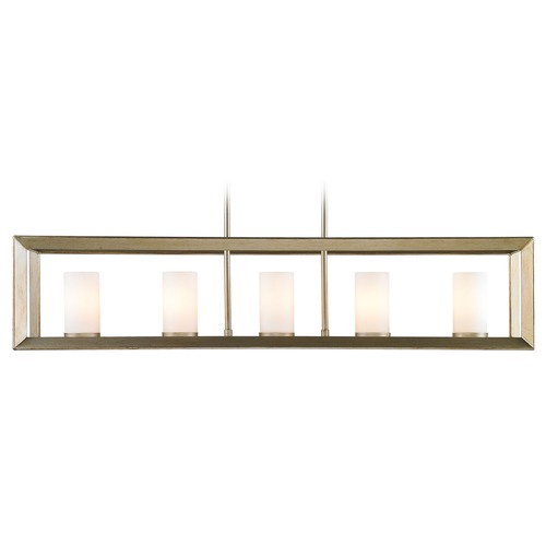 Golden Lighting Golden Lighting Smyth Wg White Gold Island Light with Cylindrical Shade 2073-LP WG