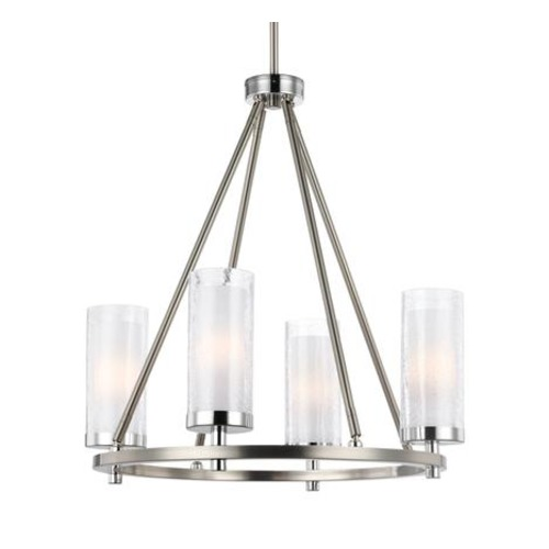 Feiss Lighting Feiss Lighting Jonah Satin Nickel / Chrome Mini-Chandelier F2984/4SN/CH