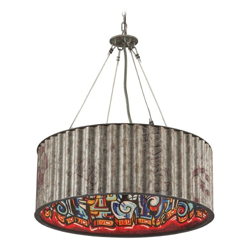 Troy Lighting Troy Lighting Street Art Weathered Galvanized with Street Art Interior Pendant Light with Drum Shade F4766