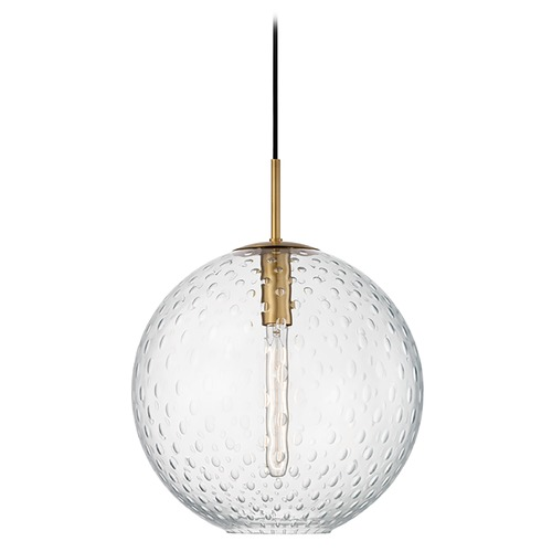 Hudson Valley Lighting Hudson Valley Lighting Rousseau Aged Brass Pendant Light with Globe Shade 2015-AGB-CL