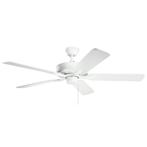 Kichler Lighting Basics Pro Matte White 52-Inch Ceiling Fan without Light 330018MWH