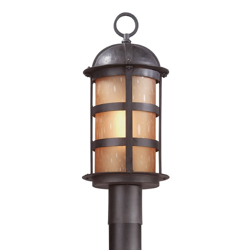 Troy Lighting Post Light with Amber Glass in Natural Bronze Finish P9252NB