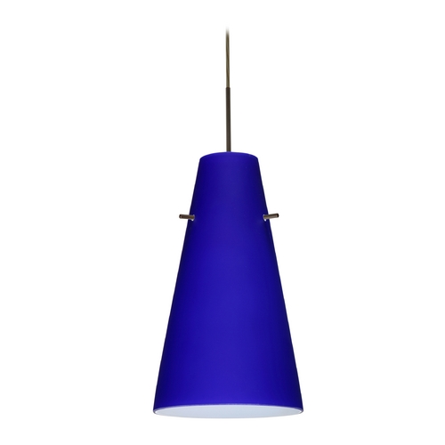 Besa Lighting Modern Pendant Light Blue Glass Bronze by Besa Lighting 1JT-4124CM-BR