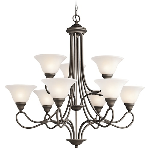 Kichler Lighting Kichler Chandelier with White Glass in Olde Bronze Finish 2558OZ