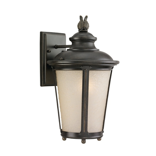 Sea Gull Lighting Outdoor Wall Light with White Glass in Burled Iron Finish 89341BLE-780