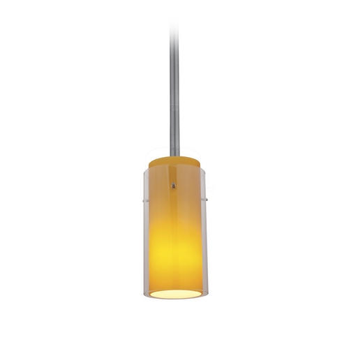 Access Lighting Modern Mini-Pendant Light with Amber Glass 28033-2R-BS/CLAM