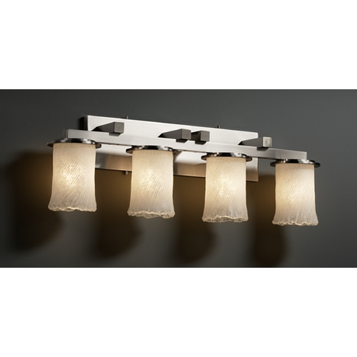 Justice Design Group Justice Design Group Veneto Luce Collection Brushed Nickel Bathroom Light GLA-8774-16-WHTW-NCKL
