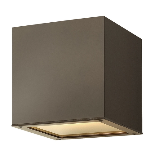 Hinkley Lighting Modern Outdoor Wall Light with White Glass in Bronze Finish 1767BZ-GU24