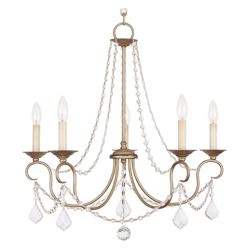 Livex Lighting Livex Lighting Pennington Antique Silver Leaf Crystal Chandelier 6515-73