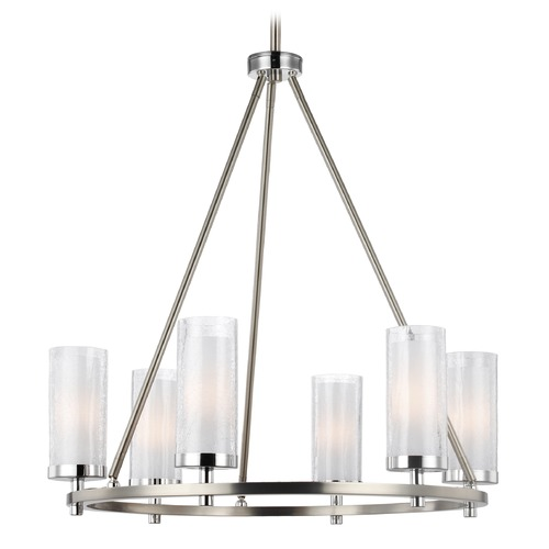 Feiss Lighting Feiss Lighting Jonah Satin Nickel / Chrome Chandelier F2985/6SN/CH